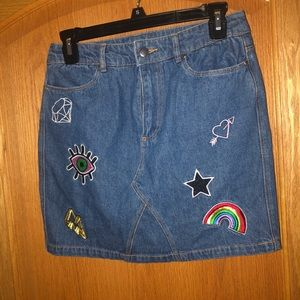 Divided Denim Skirt With Patches